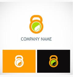 fitness barbel ecology logo vector image
