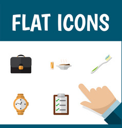 Flat icon life set of questionnaire briefcase vector