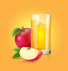 Fresh apple juice in realistic transparent glass vector