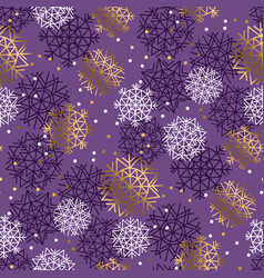 gold and violet snowflakes luxury seamless pattern vector image