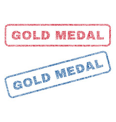Gold medal textile stamps vector