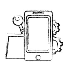 grunge smartphone with folder file and industry vector image