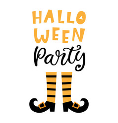 halloween party banner with handwritten lettering vector image