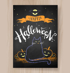Halloween postcard color chalked design vector