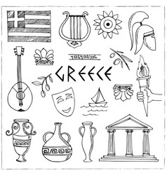 hand drawn greece travel collection icons vector image