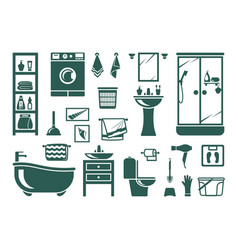 Handdrawn bathroom equipment set modern washing vector