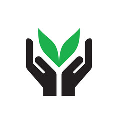 hands with green leaves - icon on white background vector image
