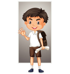 happy boy with backpack and paper vector image
