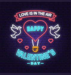 Happy valentines day neon greetings card poster vector