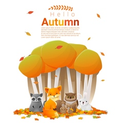 Hello autumn background with woodland animals vector