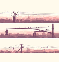 Horizontal banners of flock birds on city power vector