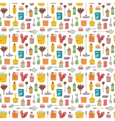 House cleaning tools seamless pattern vector image