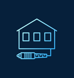 House with fiber optic cable blue outline vector