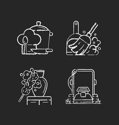 Household chores chalk white icons set on black vector