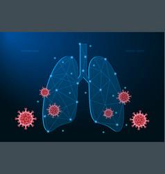 human lungs coronavirus cells attack respiratory vector image