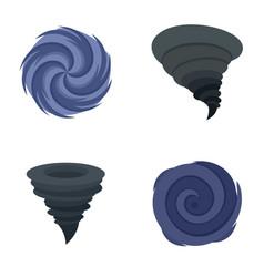 Hurricane storm damage icons set flat style vector