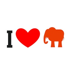 I love Republican Symbol of elephant and heart vector