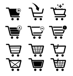 Icon set add to cart shoping vector