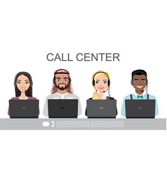 Icons set multiracial male and female call vector