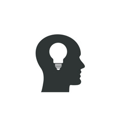 idea icon simple head element school symbol vector image