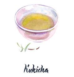 Japanese tea kukicha tea vector