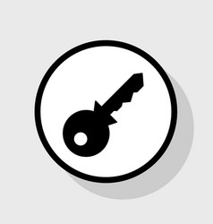 Key sign flat black icon in vector