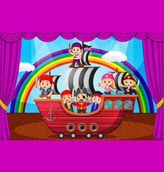 kids playing pirate on stage vector image