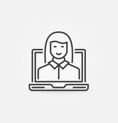 laptop with woman linear icon female vector image