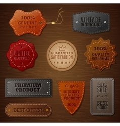 Leather Label Set vector image