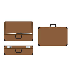 leather suitcases set open closed and side view vector image