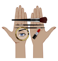 Linear color drawing female hands with makeup vector
