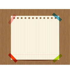 Lined paper notebook on wooden wall insert your vector