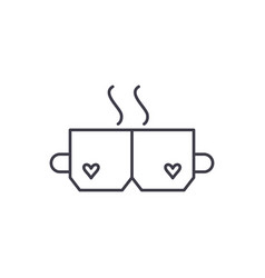 love tea line icon concept love tea linear vector image