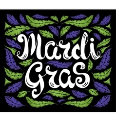 Mardi Gras celebration poster with calligraphy vector image