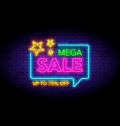Mega sale in neon style neon stars vector