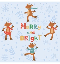 Merry and bright card with cute reindeers vector image