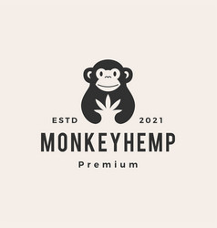 monkey cannabis hipster vintage logo icon vector image