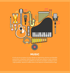Musical instruments formed in heart isolated vector