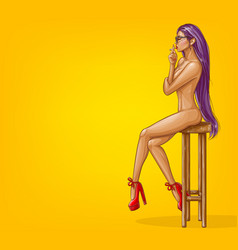 Naked girl is sitting on stool vector