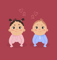 newborn baby girl and boy sitting together vector image