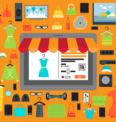 Online shopping in mall infographic vector
