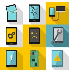 Phone diagnostics icon set flat style vector