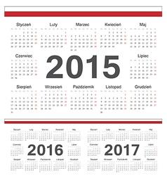 Polish circle calendars 2015 2016 2017 vector image