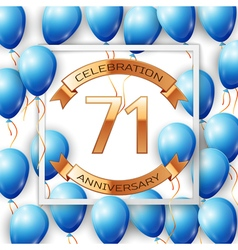 Realistic blue balloons with ribbon in centre vector image