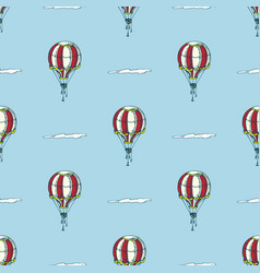Red and white balloons and clouds vector