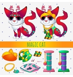 Red magic cat with toys and clothing vector