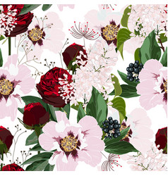 red roses and pink peony flowers pattern vector image
