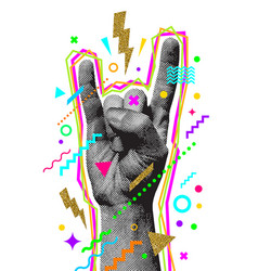 Rocknroll or heavy metal hand sign two fingers vector