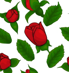 seamless pattern of red roses on a white backgroun vector image