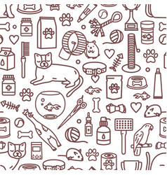 Seamless pattern with pet products and domestic vector
